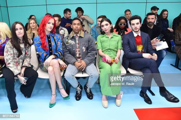 Chiara Mastroianni Bria Vinaite Kelvin Harrison Jr Rowan Blanchard and Giacomo Ferrara attend the Gucci show during Milan Fashion Week Fall/Winter...