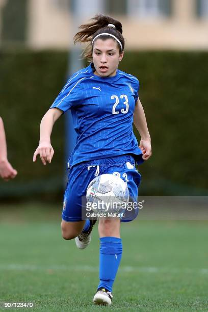 Chiara Mele of Italy U16 women in action during the U16 Women friendly match between Italy U16 and Slovenia U16 at Coverciano on January 19 2018 in...