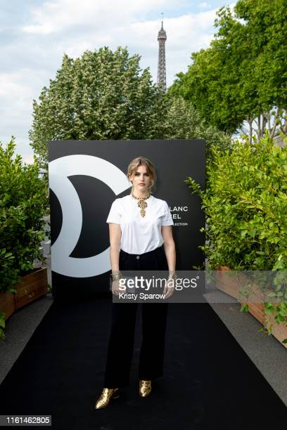 Chiara Parravicini attends the Noir et Blanc de Chanel Fall/Winter 2019 Makeup Collection Yachts De Paris on July 11 2019 in Paris France