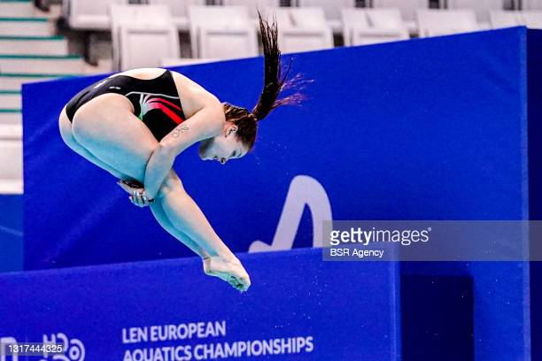 Chiara Pellacani of Italy competing at the Team Event Final during the LEN European Aquatics Championships 1m Springboard Preliminary at Duna Arena...