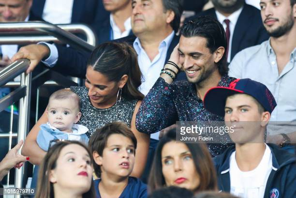 Chiara Picone wife of Javier Javier Pastore of PSG and his daughter during the French Ligue 1 match between Paris Saint Germain and Caen at Parc des...
