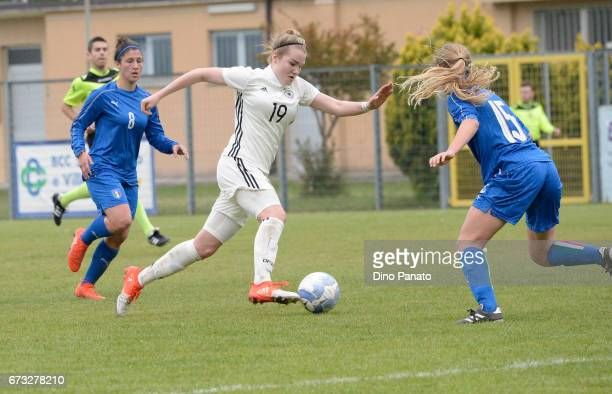 Chiara Ripamonti of Italy women's U16 competes with laura Haas of Germany women's U16 during the 2nd Female Tournament 'Delle Nazioni' match between...