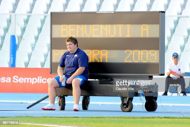Chiara Rosa of Italy waits for the judge results during the Women's Shot Put Final at the XVI Mediterranean Games on July 1 2009 in Pescara Italy