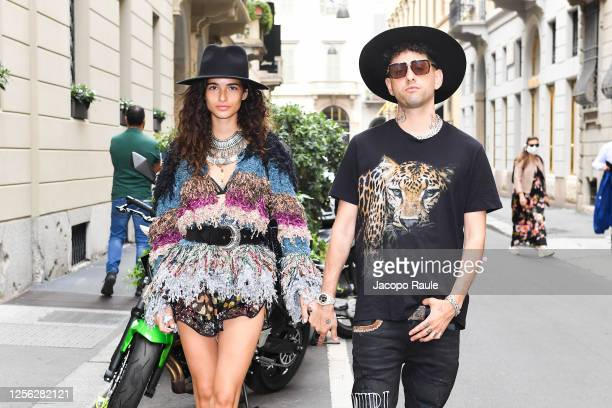 Chiara Scelsi and Wayne Santana are seen arriving at the Four Season Hotel ahead of the Etro Fashion Show on July 15 2020 in Milan Italy