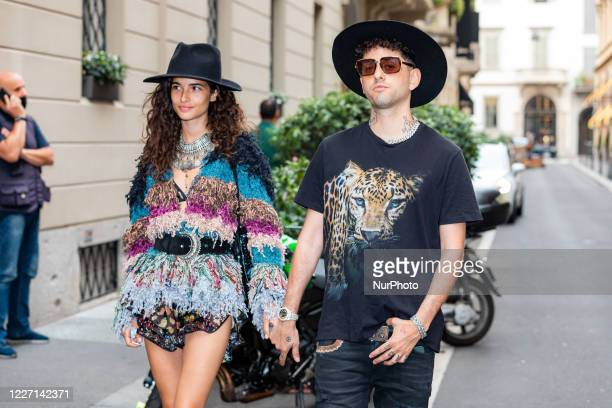 Chiara Scelsi and Wayne Santana attends the Etro fashion show during Milan Digital Fashion Week on July 15 2020 in Milan Italy