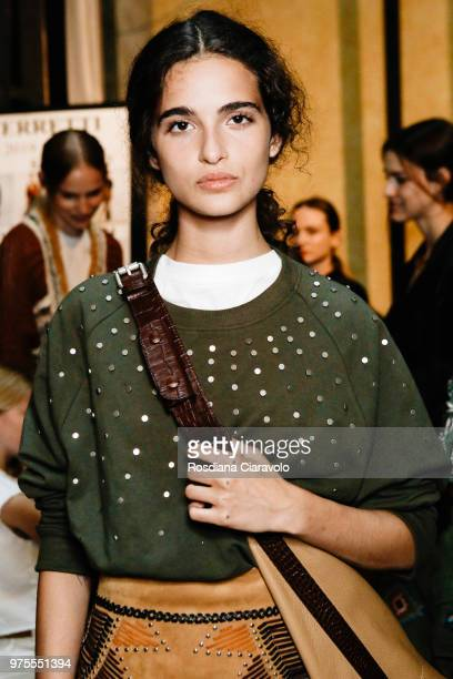 Chiara Scelsi is seen backstage ahead of the Alberta Ferretti show during Milan Men's Fashion Week Spring/Summer 2019 on June 15 2018 in Milan Italy