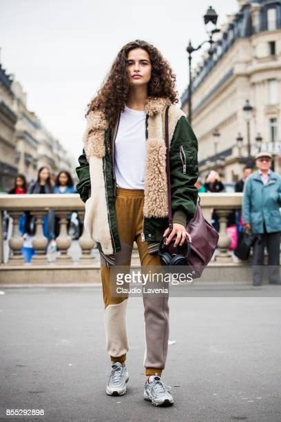 Chiara Scelsi is seen before the Balmain fashion show during Paris Fashion week Womenswear SS18 on September 28 2017 in Paris France