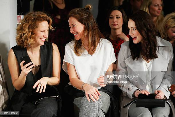 Chiara Schoras, Alexandra Neldel and Maria Ehrich attend the Laurel show during the Mercedes-Benz Fashion Week Berlin A/W 2017 at Kaufhaus Jandorf on...