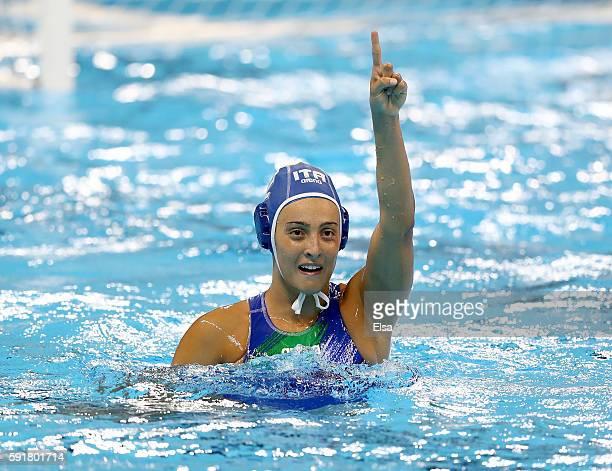 Chiara Tabani of Italy celebrates her goal in the second half against Russia during the Women's Water Polo at Olympic Aquatics Stadium on August 17...
