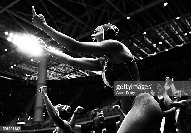 Chiara Tabani of Italy reacts with passion during the Water Polo semi final match between Italy and Russia at Olympic Aquatics Stadium on August 17...