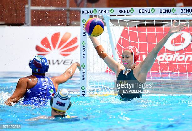 Chiara Tabani of Italy scores a goal against goalkeeper Kelsey Wakerfield of Australia in the 'Hajos' swimming pool of Budapest on July 15 2016...