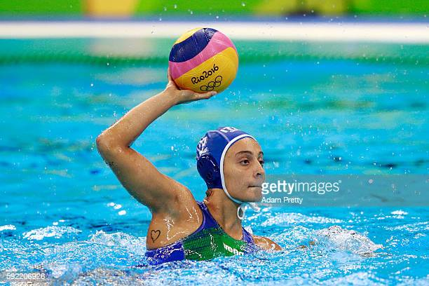 Chiara Tabani of Italy thorws the ball during the Women's Water Polo Gold Medal match between the United States and Italy on Day 14 of the Rio 2016...