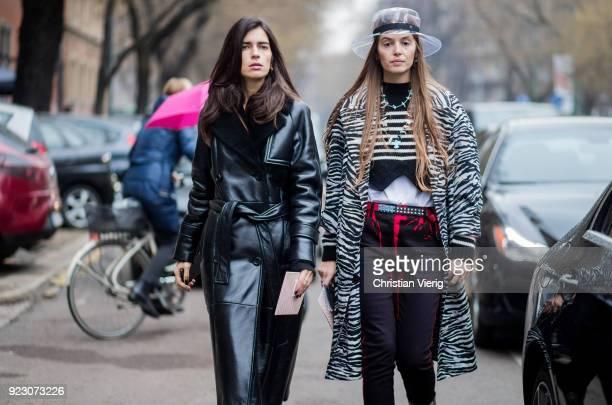 Chiara Totire and Carlotta Oddi seen outside Fendi during Milan Fashion Week Fall/Winter 2018/19 on February 22, 2018 in Milan, Italy.
