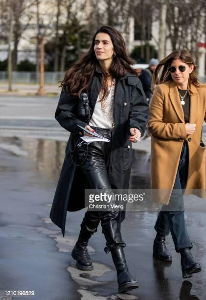 Chiara Totire is seen wearing black coat, leather pants outside Chanel during Paris Fashion Week - Womenswear Fall/Winter 2020/2021 : Day Nine on...