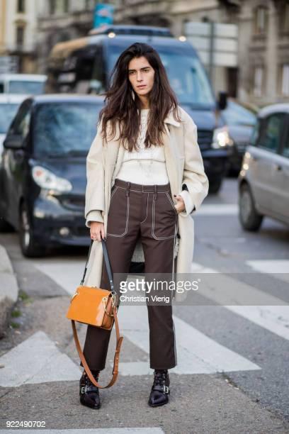 Chiara Totire seen outside Alberta Ferretti during Milan Fashion Week Fall/Winter 2018/19 on February 21 2018 in Milan Italy