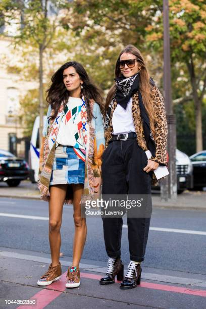 Chiara Totire wearing a printed shirt colorful cardigan patchwork mini skirt and tan sneaker and Carlotta Oddi wearing white tshirt bandana scarf...