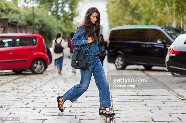 Chiara Totire wearing denim and a Chloe Lexa bag is seen outside Gucci during Milan Fashion Week Spring/Summer 2017 on September 21 2016 in Milan...
