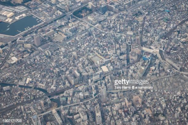 chiba city in chiba prefecture of japan aerial view from airplane - chiba city fotografías e imágenes de stock