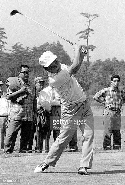 Chiba Japan Japanese golfer Teruo Sugihara tees off in a round at Chiba Country Club in Chiba Prefecture in September 1962 on his way to capture his...
