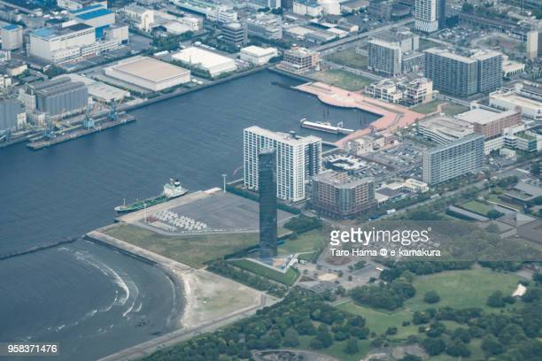 Chiba Port Tower in Chiba city in Chiba prefecture in Japan daytime aerial view from airplane