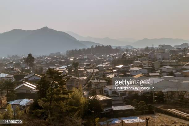 chiba residential district at sun rise in japan. - chiba city fotografías e imágenes de stock