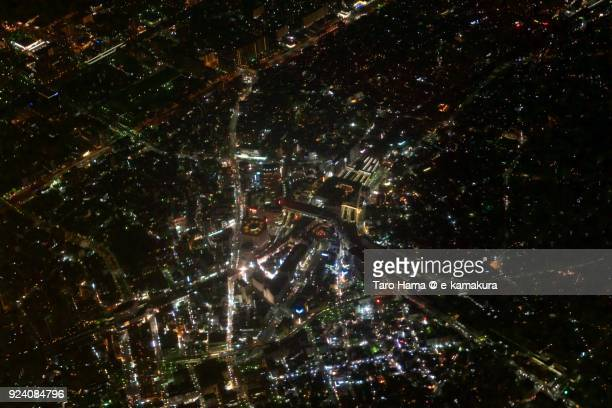 jr chiba station, center of chiba city in chiba prefecture in japan night time aerial view from airplane - 千葉市 ストックフォトと画像