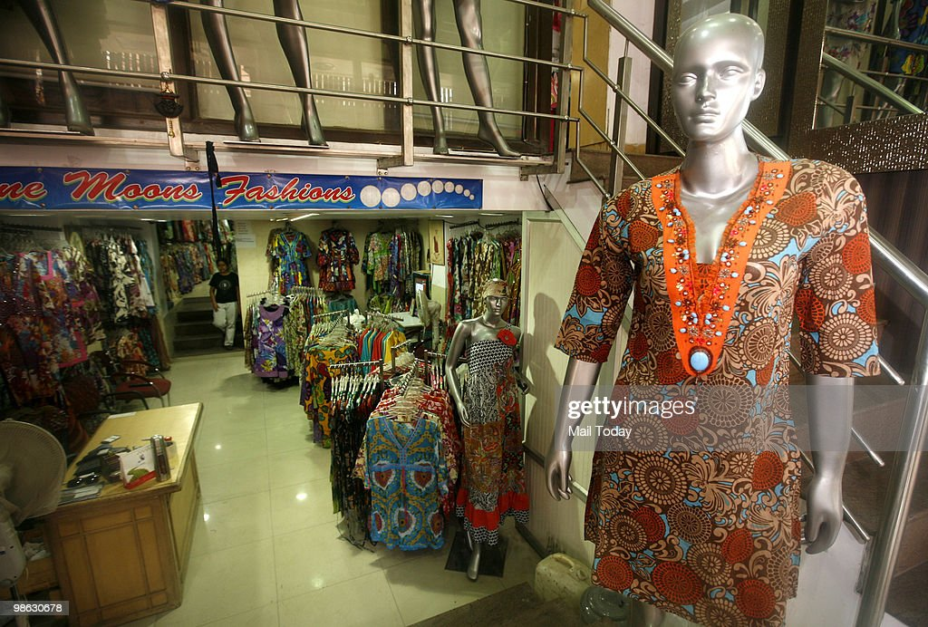 Chic kurtis can be seen displayed at the Paharganj market in New Delhi on April 21, 2010.