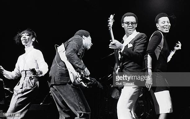 Chic perform on stage in London, October 1979. Left to right: Luci Martin, Nile Rodgers, Bernard Edwards and Alfa Anderson.