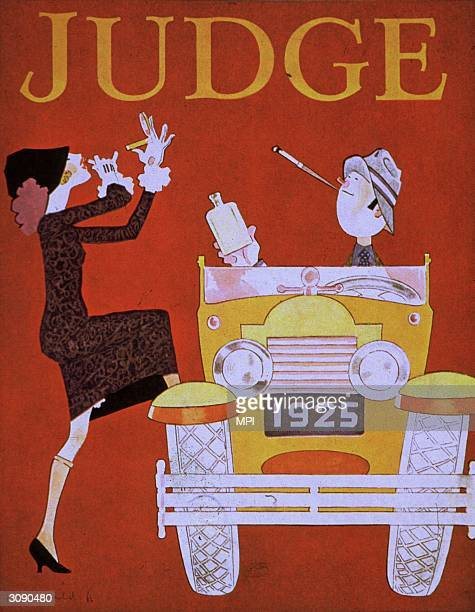 A chic young woman applies a coat of lipstick before jumping into a convertible with her equally elegant beau Original Publication The cover of Judge...