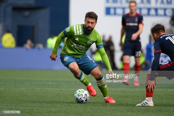 Chicaco Fire midfielder Alvaro Medran defends against Seattle Sounders midfielder Joao Paulo during a MLS match between the Chicago Fire and the...