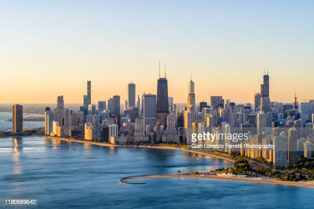 chicago aerial cityscape at sunrise - skyline stock pictures, royalty-free photos & images