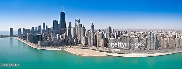 chicago aerial panorama - chicago stock pictures, royalty-free photos & images