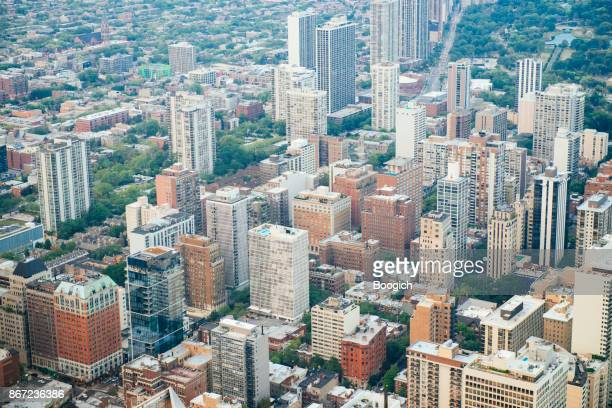Chicago Aerial View of Buildings in Urban Midwest USA