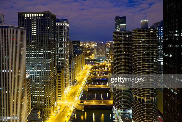 Chicago - Aerial View of Downtown and River at Dawn