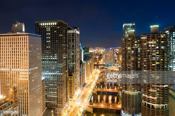 chicago - aerial view of downtown and river at twilight - wacker drive stock photos and pictures