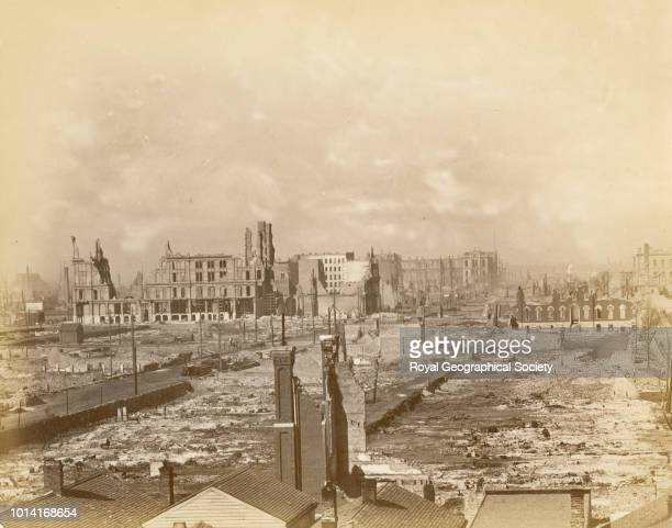 Chicago after the fire of 1871, The 'Great Chicago Fire' started in the cowbarn at the rear of the Patrick O'Leary cottage at 137 DeKoven Street on...