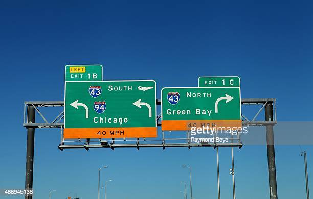 Chicago and Green Bay expressway signage on Interstate 43 on September 13 2015 in Milwaukee Wisconsin