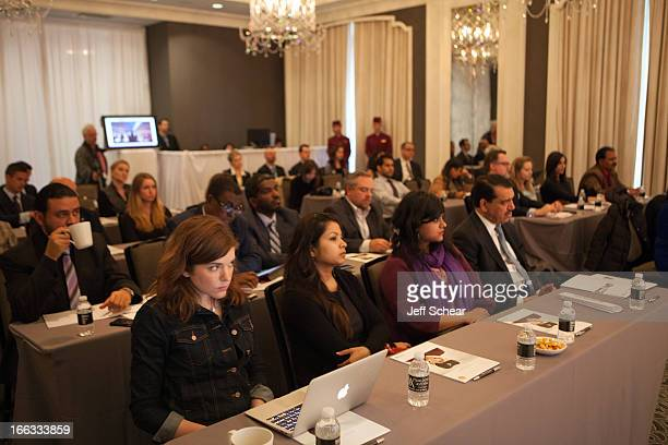 Chicago and international media listen intently as Qatar Airways CEO Mr Akbar Al Baker discusses the airline's plans for the region at Waldorf...