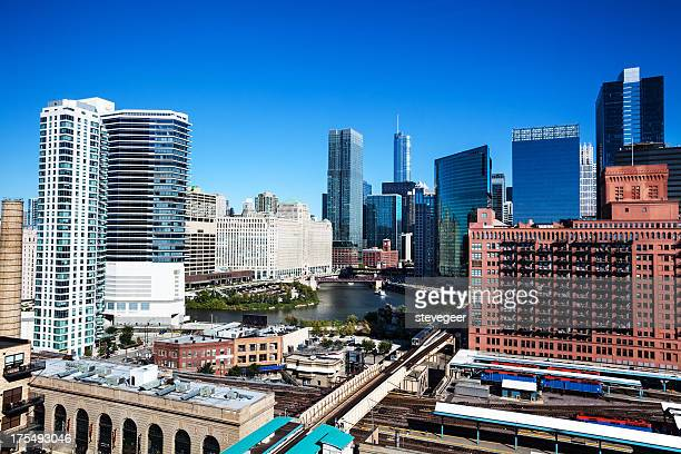 chicago architecture and river at wolf point - metra train stock photos and pictures