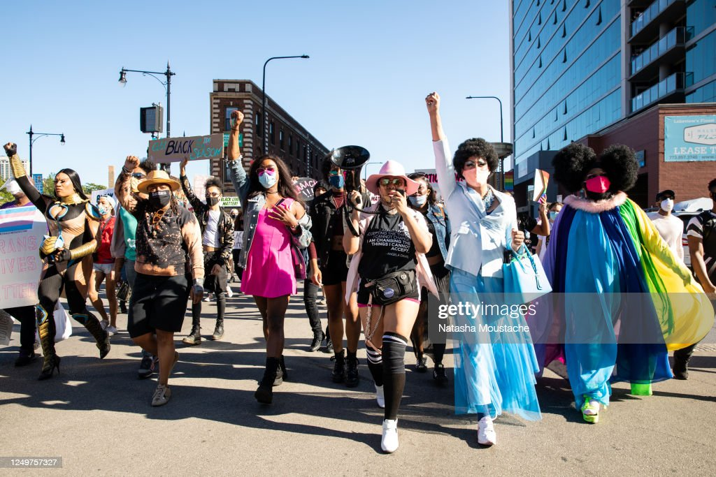 Chicago Area Drag Queens March In Protest Over Police Killing Of George Floyd, Tony McDade and Breonna Taylor : News Photo