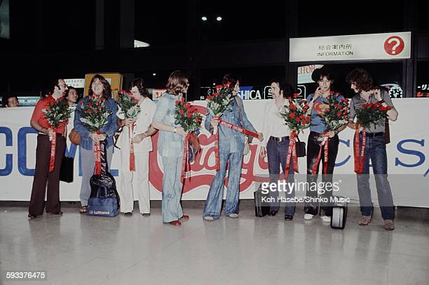 Chicago at airport with welcome banner Tokyo June 1971