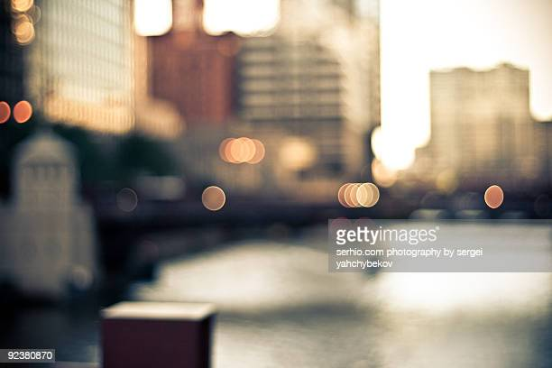 chicago at evening - soft focus stock pictures, royalty-free photos & images