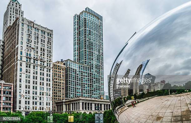 Chicago Bean in Millennium Park with Reflection of Skyscrapers