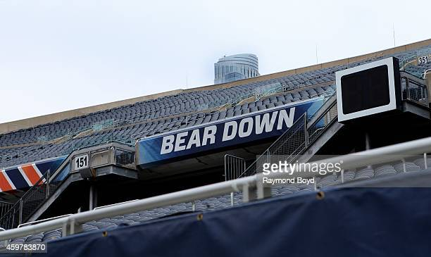 Chicago Bears Bear Down signage at Soldier Field home of the Chicago Bears football team in Chicago on November 26 2014 in Chicago Illinois