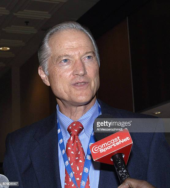 Chicago Bears board chairman Mike McCaskey talks to the media as the NFL owners meet to elect a new commissioner at the Renaissance Chicago North...