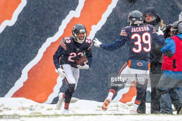 Chicago Bears cornerback Kyle Fuller celebrates with Chicago Bears free safety Eddie Jackson after making an interception during the first half...