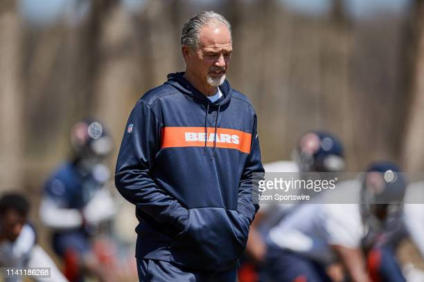 Chicago Bears defensive coordinator Chuck Pagano looks on during the Chicago Bears Rookie Minicamp on May 4, 2019 at Halas Hall, in Lake Forest, IL.