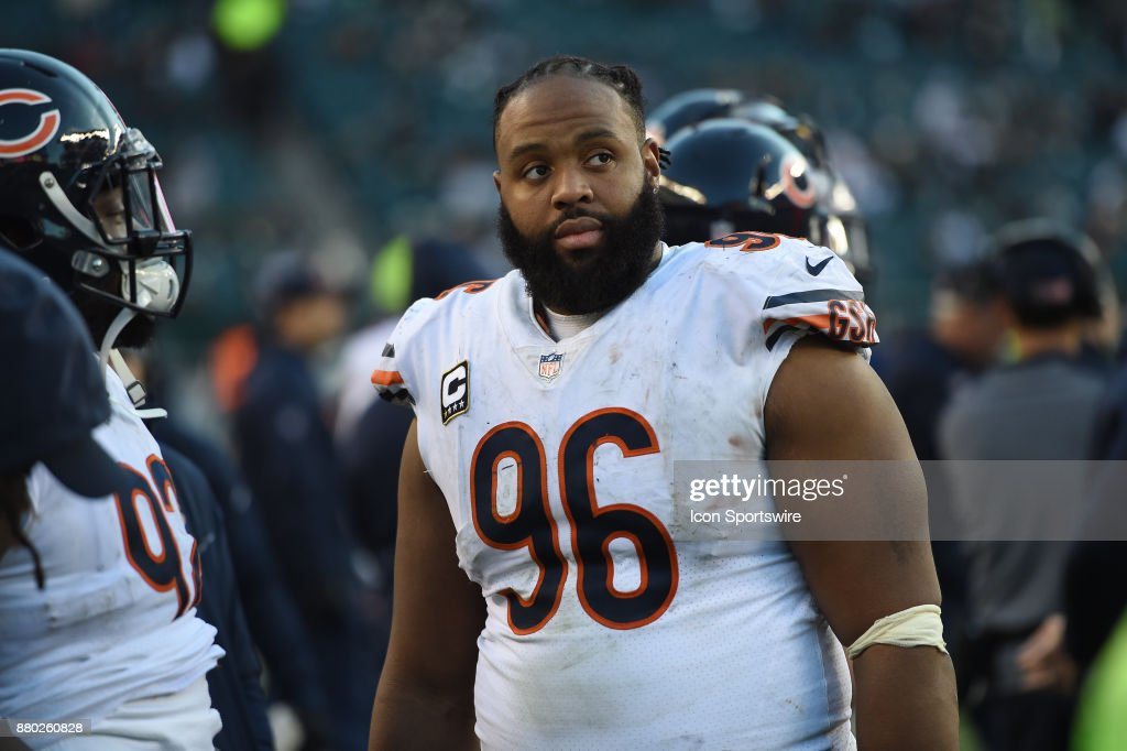 Chicago Bears defensive end Akiem Hicks (96) looks on during a NFL football game between the Chicago Bears and the Philadelphia Eagles on November 26, 2017 at Lincoln Financial Field in Philadelphia, PA. Eagles won 31-3.