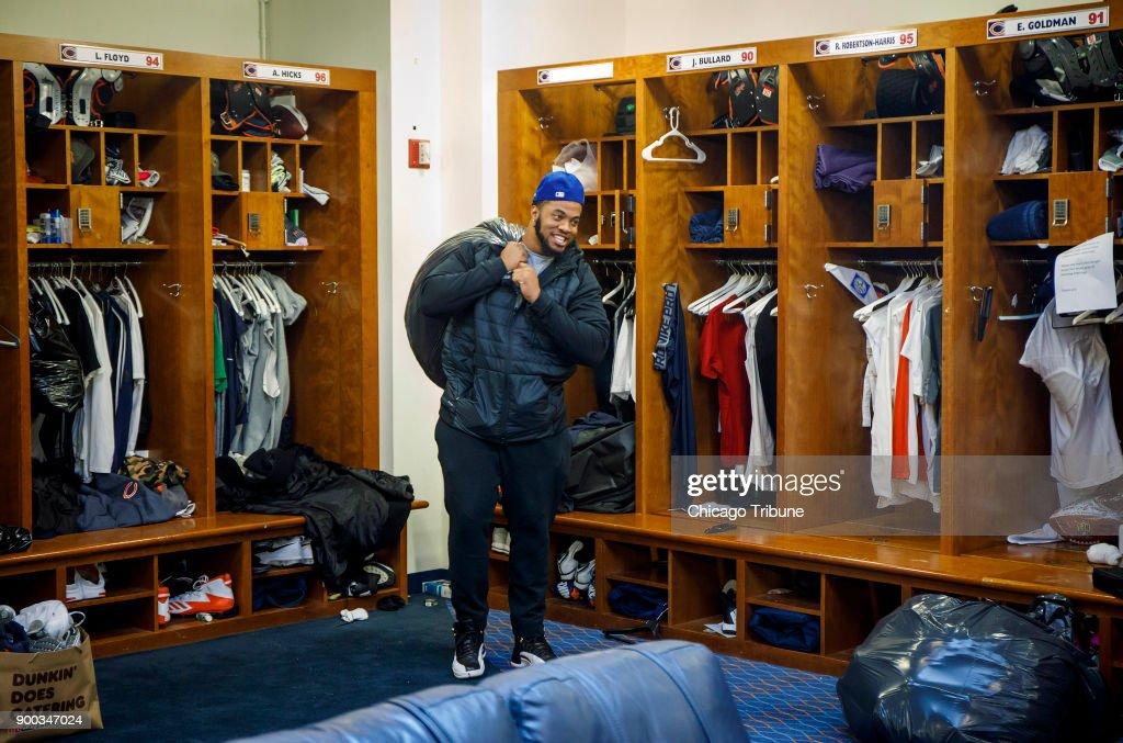 Chicago Bears defensive end Jonathan Bullard packs up his locker