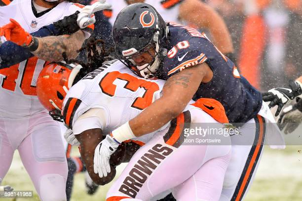 Chicago Bears defensive end Jonathan Bullard tackles Cleveland Browns running back Isaiah Crowell during the game between the Chicago Bears and the...